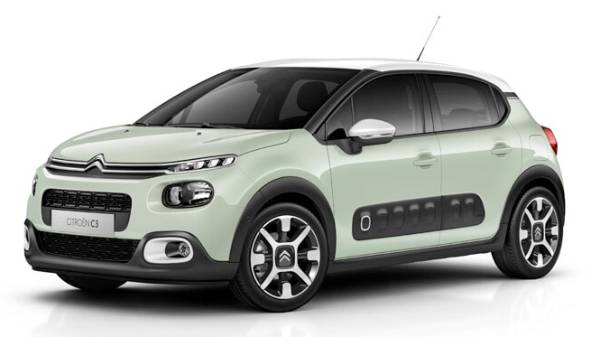 Citroen C3 5 door - green with black roof black alloys FRONT view