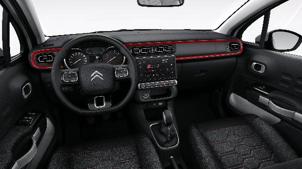 Citroen C3 interior personalised dash red accent colour