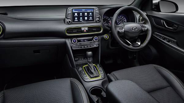 hyundai kona - interior with acid yellow detail