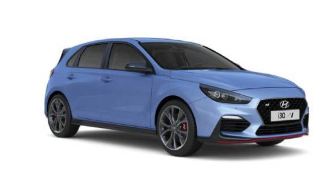 hyundai i30n side view blue with alloy wheels