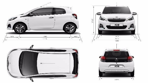 Peugeot 108 Exterior Dimensions