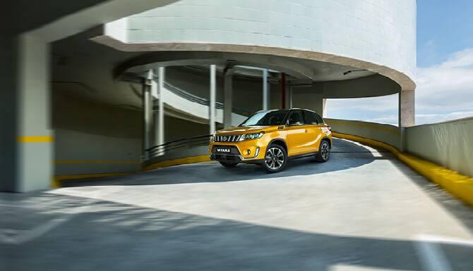 Suzuki Vitara On The Road Parking Lot Yellow Color
