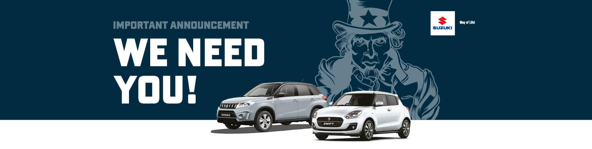 Suzuki We want your car
